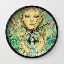 The Mermaid (color) Wall Clock
