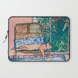 Napping Ginger Cat in Pink Jungle Garden Room Laptop Sleeve