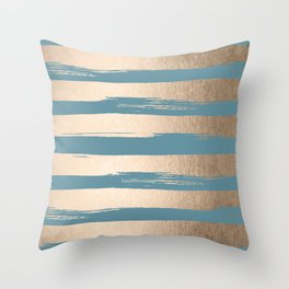 Painted Stripes Gold Tropical Ocean Blue Throw Pillow