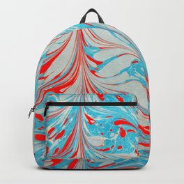 Blue and red coloured marbling art piece  Backpack