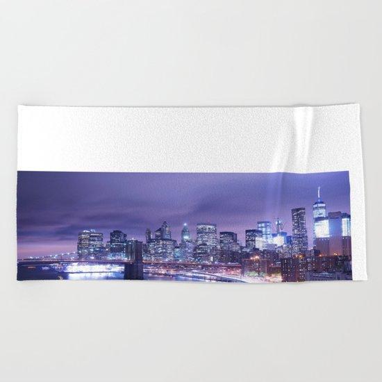 New York City Night Lights : Periwinkle Blue Beach Towel