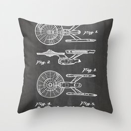 Startrek Uss Enterprise Patent - Trek Art - Black Chalkboard Throw Pillow