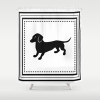 dachshund Shower Curtains featuring Dachshund by Antique Images