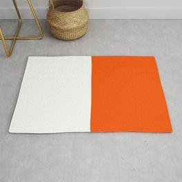 White and Dark Orange Horizontal Halves Rug