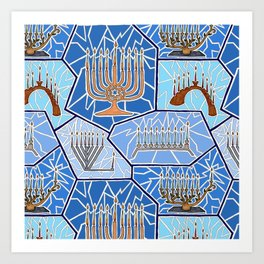 Hanukkah Menorah Mosaic in Dark Blues Art Print