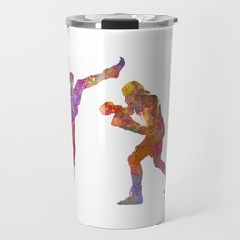 Woman boxwe boxing man kickboxing silhouette isolated 01 Travel Mug
