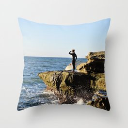 Scouting The Waves Throw Pillow