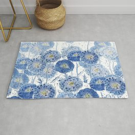blue indigo dandelion pattern watercolor Rug