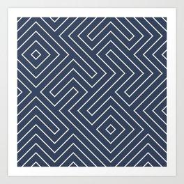 Tribal Maze Navy and White Art Print