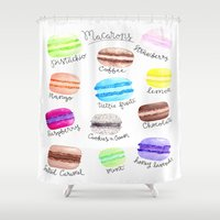macaron Shower Curtains featuring Macaron Watercolor Diagram by Georgie Pearl Designs