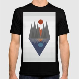 An abstract mountain view with lake geometric design T-shirt
