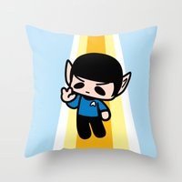 spock Throw Pillows featuring Spock by Ziqi