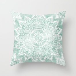 BOHEMIAN FLOWER MANDALA IN TEAL Throw Pillow
