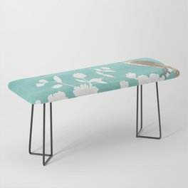 Chinoiserie Panels 3-4 White Scene on Teal Raw Silk - Casart Scenoiserie Collection Bench