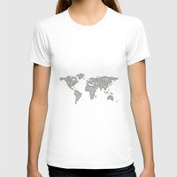 map of the world T-shirts featuring World map by David Zydd