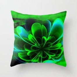 Abstract Green Flower Throw Pillow