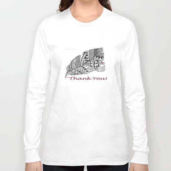 Zentangle Thank You - Black and White Illustration Long Sleeve T-shirt