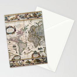 Map Nova totius terrarum orbis geographica (1635) Stationery Cards