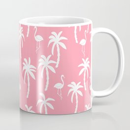 Tropical flamingo and palm trees pattern by andrea lauren cute illustration summer patterns pink Coffee Mug