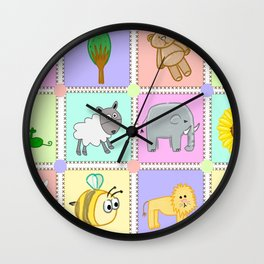 Kiddies puzzle pieces prints Wall Clock