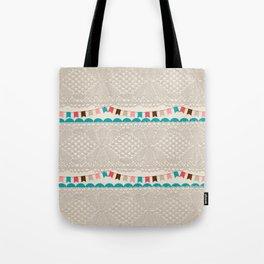 Vintage elegant ivory floral lace colorful flags pattern Tote Bag
