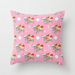 Lion Head Goldfish Pink Throw Pillow