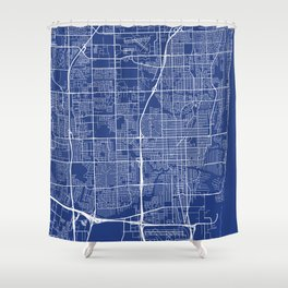 Fort Lauderdale Map, USA - Blue Shower Curtain