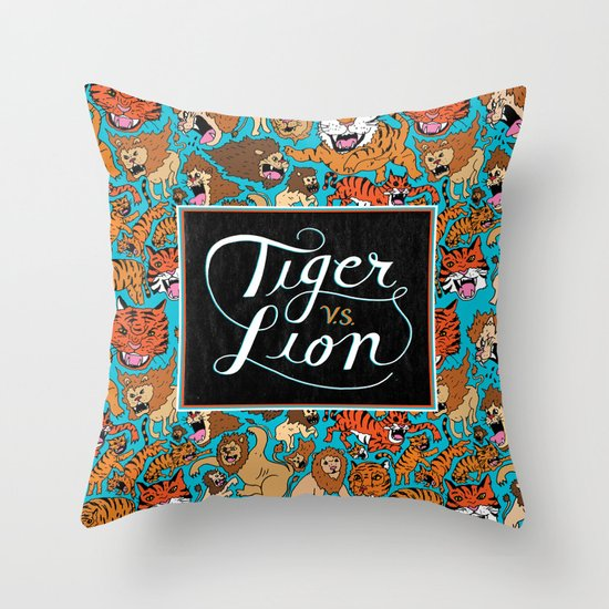 Tiger VS. Lion Throw Pillow