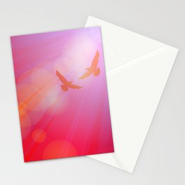 Birds, seagulls silhouette on pink background, sunset, dawn. Stationery Cards