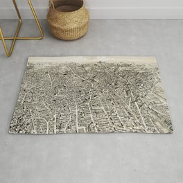 Vintage Pictorial Map of The Boston Suburbs (1888) Rug
