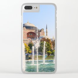 The Sultan Ahmad Maydan Fountain with Hagia Sophia in background, Clear iPhone Case