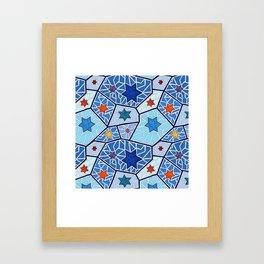Hanukkah Stars of David in Dark Blues Framed Art Print
