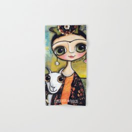 Frida Kahlo and the white coat Hand & Bath Towel