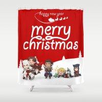 assassins creed Shower Curtains featuring Christmas Assassins by ARI RIZKI