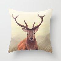 elk Throw Pillows featuring ELK by Juliana Vidal