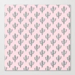 Modern blush pink faux silver glitter floral cactus Canvas Print