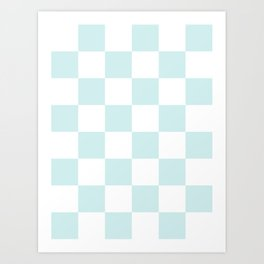 Large Checkered - White and Light Cyan Art Print