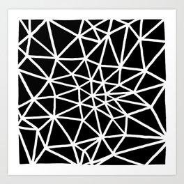 black and white triangle web II Art Print