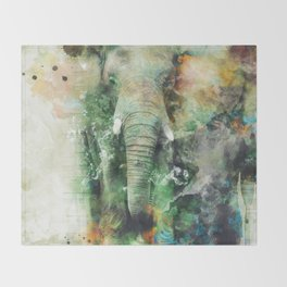 Watercolor Elephant Throw Blanket
