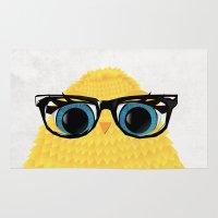 nerd Area & Throw Rugs featuring Nerd Chick by WyattDesign