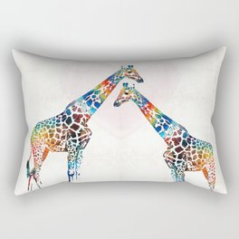 Colorful Giraffe Art - I've Got Your Back - By Sharon Cummings Rectangular Pillow