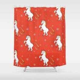 cute cartoon christmas pattern background with unicorn with santa hat Shower Curtain