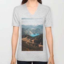 Mountains and lake Unisex V-Neck