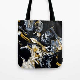 Black Gold & White Abstract II Tote Bag