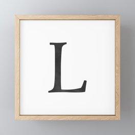 Letter L Initial Monogram Black and White Framed Mini Art Print
