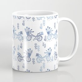Bicycles spring cute white and navy pattern bike print by andrea lauren Coffee Mug