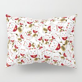 Good luck cat pattern/ red Maneki-neko Pillow Sham