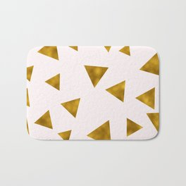 Soft Pink And Rustic Gold Triangles Bath Mat