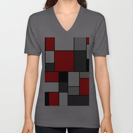 Red Black and Grey squares Unisex V-Ausschnitt