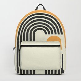 Geometric Lines in Gold and Black 4 (Rainbow and Sunrise Abstract) Backpack